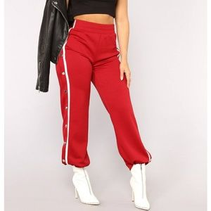 Fashion Nova Playa Alert Snap Pants Red/Combo🔴